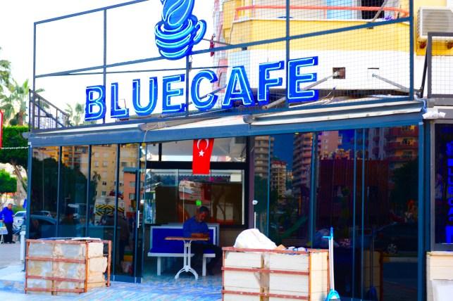 Neon Signs on front of Blue Cafe mahmutlar - we love mahmutlar