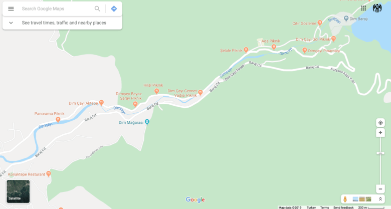 THIS IS A MAP OF THE DIMCAY GORGE AND YOU CAN SEE THE PIKNIK SITES DOTTED ALL THE WAY UP THE VALLEY