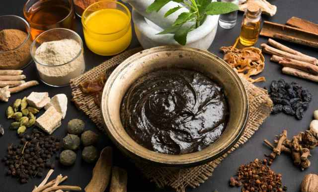 Natural Health Supplement Served in an Antique bowl with Ingredients | Ayurvedic Remedies for Better Health