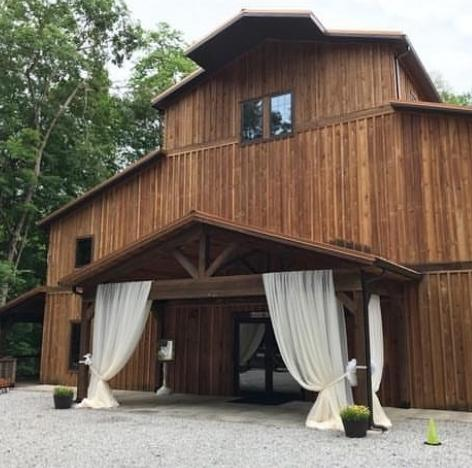 Wedding barn with drapery at entrance