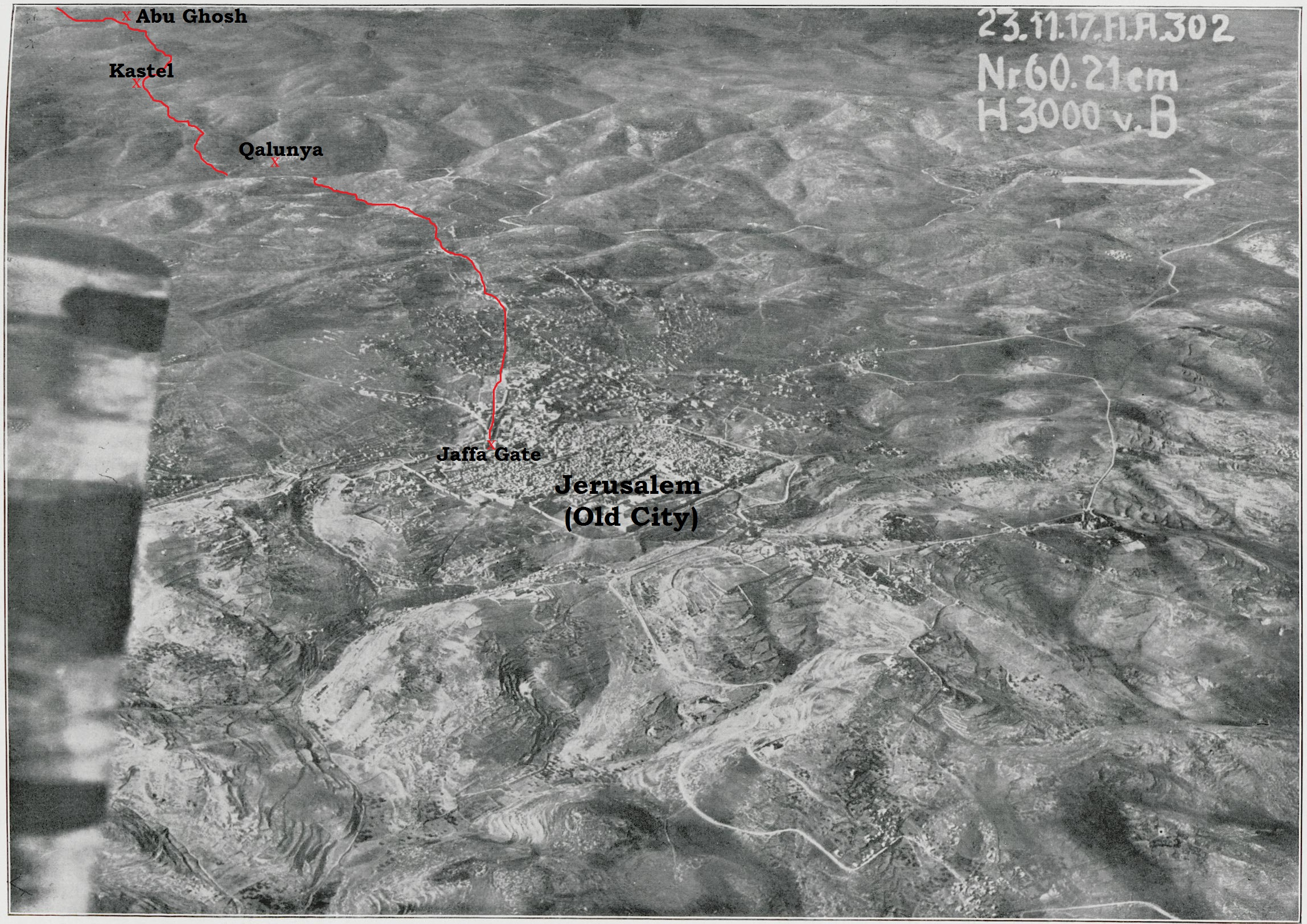 Aerial photograph of Jerusalem's environs from Gustaf Dalman's Hundert deutsche Fliegerbilder aus Palästina (Gütersloh: Bertelsmann, 1925). Superimposed on the photograph is the approximate route of the Emmaus-Jerusalem road marked in red. Part of the route is hidden from view as the road descends into the valley as it approaches Qalunya.