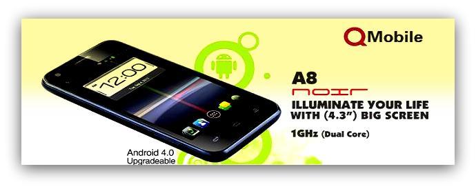 Q-Mobile 1st Dual-core Smartphone, Noir A8