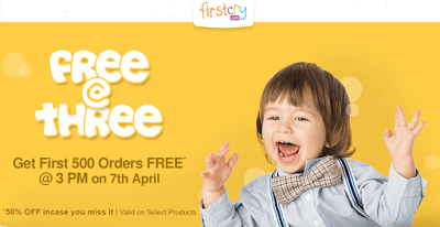 Get 100% Discount on Shopping worth Rs.1000 at Firstcry For First 500 Orders (3 PM, 7th April)