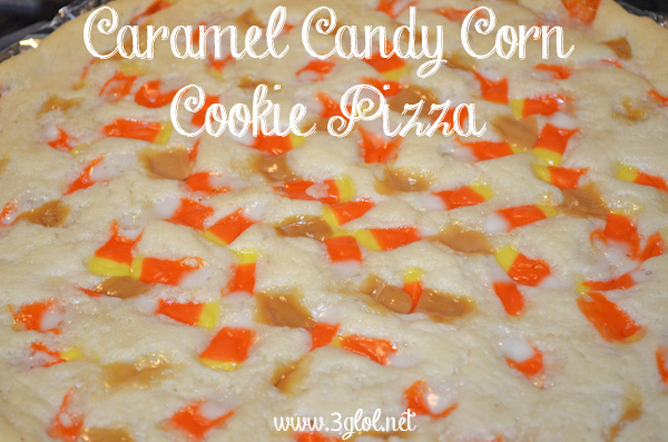 Caramel Candy Corn Cookie Pizza by 3GLOL.net