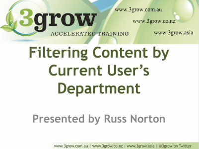 *VIDEO* Filter SharePoint List or Library by Current User's Department