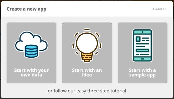 AppSheet options pour démarrer