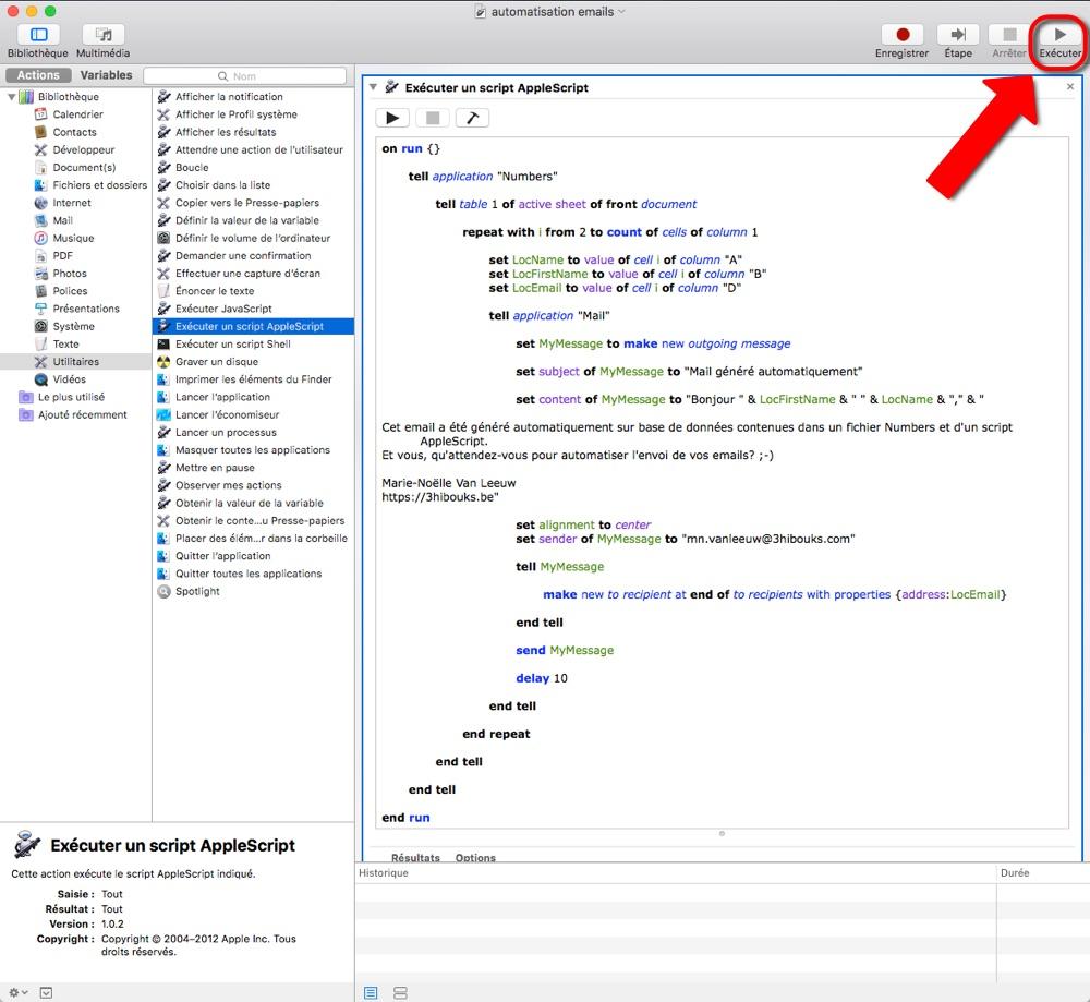 script AppleScript dans Automator