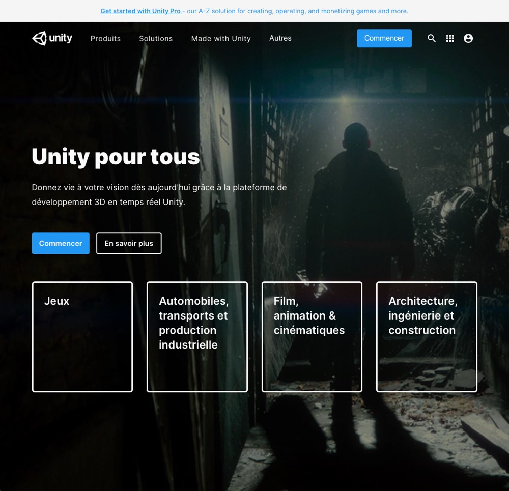 page d'accueil Unity