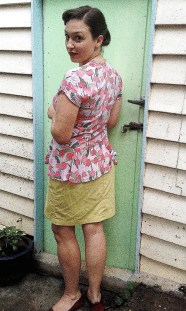 Back view with organic cotton twill. This is the skirt view with less wearing ease.