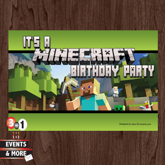 Minecraft Birthday Party Invitation 3in1 Events More Store