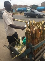 A man preparing and selling sugarcane on the street. YUM