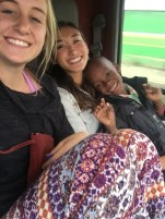 Carly, Ariel, and Mayan on the matatu