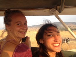 Ariel and Carly on the safari van