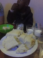 Mayan gobbling down some ugali