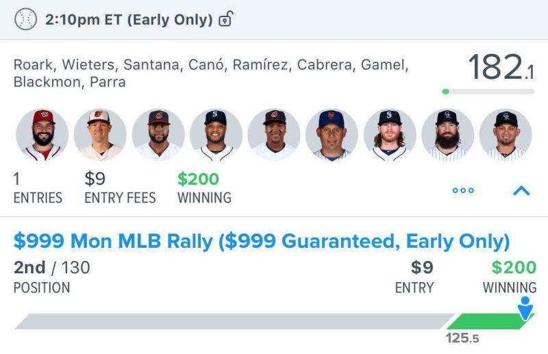 Fanduel MLB Lineup $200 winner from Hammer DFS