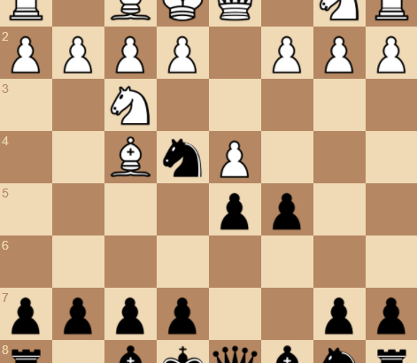 1. d4 Nf6 2. Bg5 d5 3. Nf3 Ne4 4. Bf4 c5