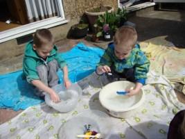 Boys washing up