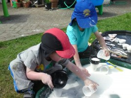 Pouring cornflour and water