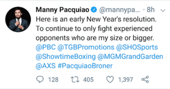 Manny Pacquiao Tweet