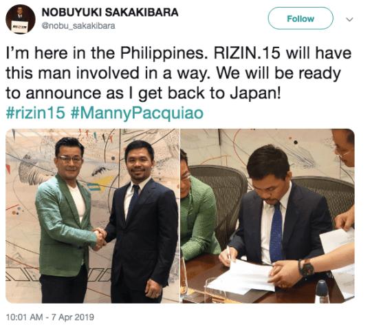 Nobuyuki Sakaibara Tweet About Manny Pacquiao