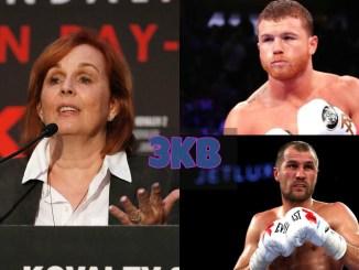 Kathy Duva, Canelo Alvarez and Sergey Kovalev