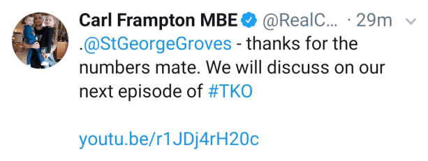 Carl Frampton responds to George Groves.