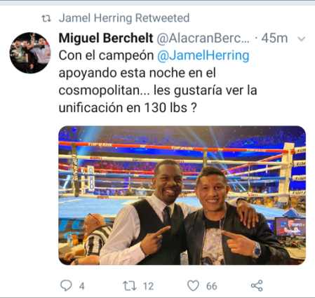 Miguel Berchelt On Jamel Herring Unification