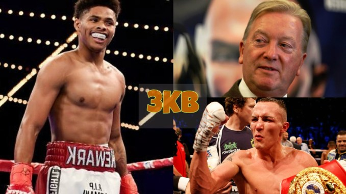 Shakur Stevenson, Frank Warren and Josh Warrington