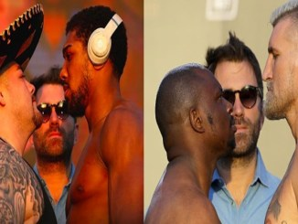 Anthony Joshua face off Right: Dillian Whyte and Mariusz Wach face off