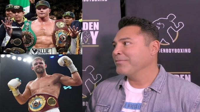 (clockwise from left) Saul Alvarez, Oscar De La Hoya, Billy Joe Saunders