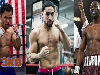 (left to right) Manny Pacquiao, Danny Garcia, Terence Crawford