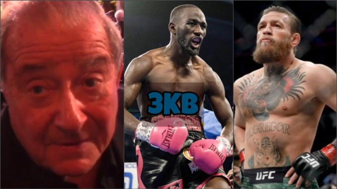 (left to right) Bob Arum, Terence Crawford, Conor McGregor