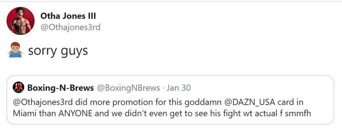 Othat Jones III Responds To Fans Upset His Fight Was Not Televised