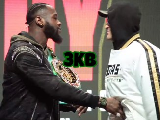 Deontay Wilder and Tyson Fury (right)