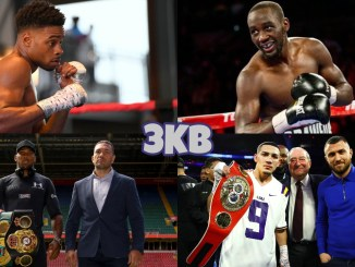 (Clockwise from top left) Errol Spence Jr, Terence Crawford, Teofimo Lopez with Bob Arum and Vasiliy Lomachenko, Anthony Joshua and Kubrat Pulev