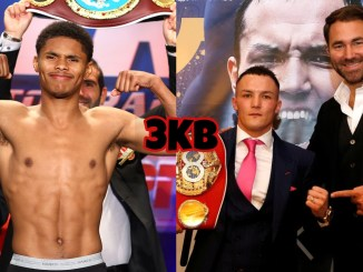 Shakur Stevenson (left), Josh Warrington and Eddie Hearn