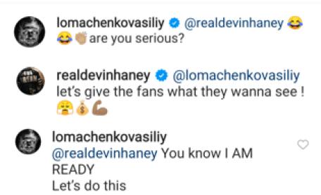 Devin Haney and Vasiliy Lomachenko exchange over social media