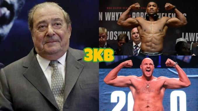 Bob Arum (left), Anthony Joshua (top), Tyson Fury
