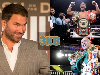 Eddie Hearn, Anthony Joshua and Tyson Fury