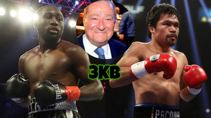Terence Crawford (left), Bob Arum (center), Manny Pacquiao