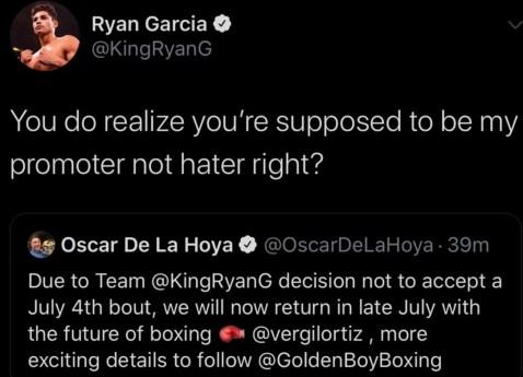 Ryan Garcia responds to Oscar De La Hoya