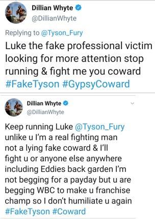 Dillian Whyte responds and calls Tyson Fury a coward