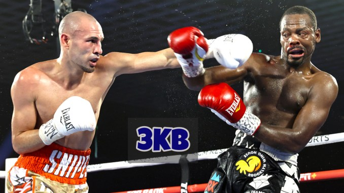 Jose Pedraza lands a straight left on Mikkel LesPierre