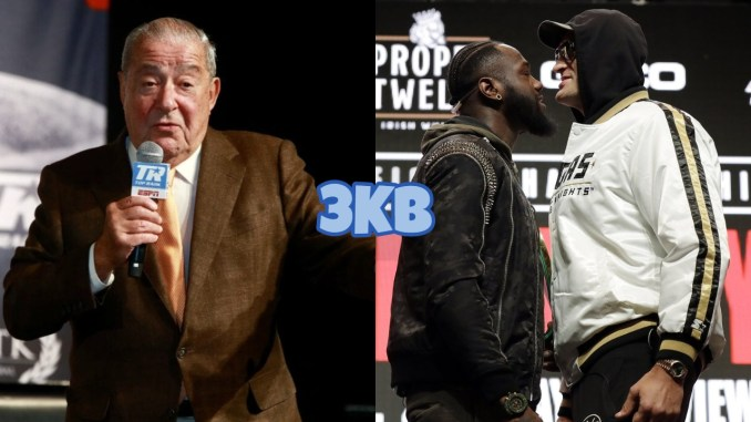 Bob Arum (left), Deontay Wilder and Tyson Fury face off ahead of their 2020 rematch