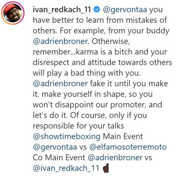 Ivan Redkach attempts to goad Adrien Broner into a fight