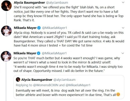 Alycia Baumgardner and Mikaela Mayer exchange over Twitter