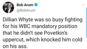 Bob Arum trolls Dillian Whyte on social media