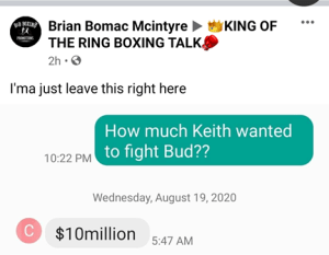 Brian McIntyre says Keith Thurman wants $10 million to fight Terence Crawford