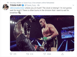 Tyson Fury claims he will not wait long for Deontay Wilder trilogy