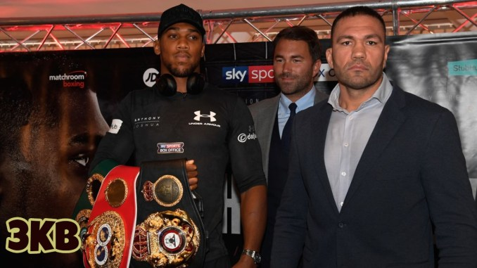 Anthony Joshua (left), Eddie Hearn (center) and Kubrat Pulev together promoting their upcoming heavyweight title match